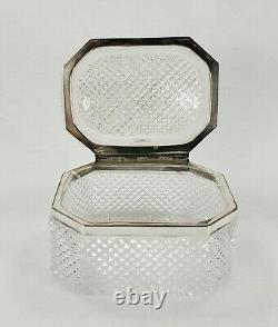 Antique French Crystal Diamond Cut Glass Dresser Box