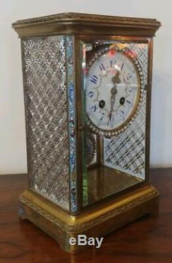 Antique French Crystal Regulator Clock Cloisonne with Stunning Cut Glass Panels