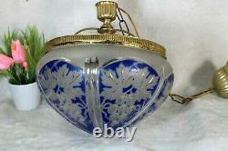 Antique French Crystal glass cut Blue clear pendant lamp chandelier