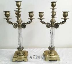 Antique French Cut Crystal and Gilt Bronze 4 Light Candelabras