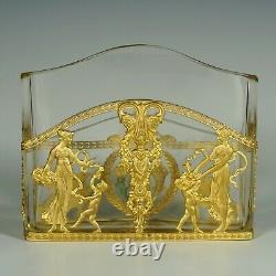 Antique French Gilt Bronze Ormolu Empire Style Cut Crystal Letter Rack Holder