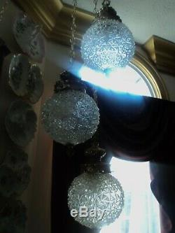 Antique Hollywood Regency Cut Glass Swag Hanging Lamp (3) Cut Crystal Globes