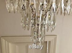 Antique Lead Crystal Chandelier Four Tier Ceiling Light Cut Glass Drops 1880s