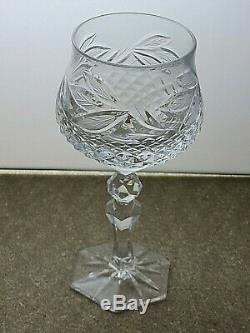 Antique Lead Crystal Cut Glass Hock Wine Glasses Set Of 6 7 Tall