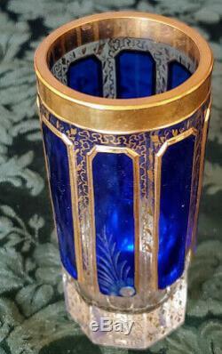 Antique Moser Cobalt Overlay 8 Cabochon Panels Cut Polished Crystal & Gold 20's