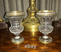 Antique Pair Diamond Cut Crystal Gilt Bronze Miniature Urn /Vases