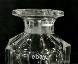 Antique Pair Matching Cut Crystal Decanters Sm Hvy 6Sided Polished 7.2x2.7 VGOOD
