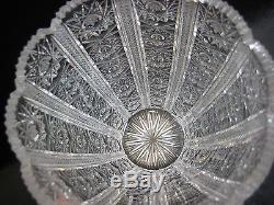 Antique Queen Lace Bohemian Czech Hand Cut Glass Crystal Vase, 7 1/2 T X 5 D