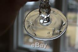 Antique Set 4 Libbey Rock Sharpe Crystal Cut Glass Wine Water Goblets Jewel Stem
