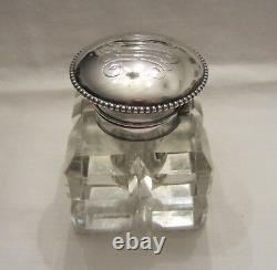 Antique Sterling Silver and Cut Crystal Glass Inkwell Wilcox Silver