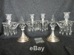 Antique Sterling Silver and Cut Glass Crystal Candelabra Pair Hawkes