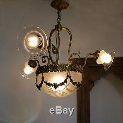 Antique Victorian Chandelier Art Glass Cut Crystal Deco Shades & Globe 4 Lights