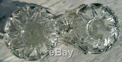 Antique Victorian Crystal Clear Glass Mantel Lustres Deep Cut 10 Tall