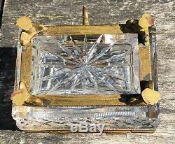 Antique Victorian French Dore Bronze Cut Glass Crystal Trinket Box Casket & Key