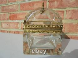 Antique Vintage Baccarat Bronze & Crystal Art Cut Glass Jewelry Casket