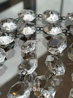 Antique Vintage Glass Cut Crystal Chandelier Lamp Parts Octagon Prisms Lot Of 95