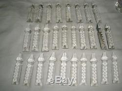 Antique Vtg. French long cut Glass Prisms Crystals Chandelier Part lot of 94 pc