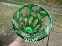 Antique Vtg Green Crystal Cut To Clear Art Glass Vase Bohemian Czech