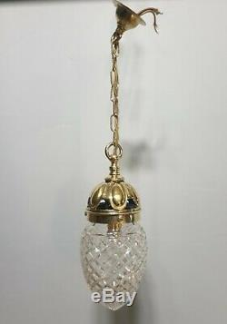 Antique c1910 Cut Glass Crystal Ceiling Bome Light, Rewired