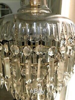 Antique glass domes waterfall small spear point crystal cut glass chandelier