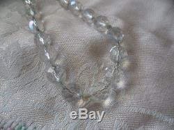Antique vintage glass crystal Aurora Borealis multi facet cut old bead Necklace