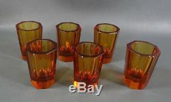 Art Deco Bohemian Czech Amber Octagonal Cut Crystal Liquor Decanter 6 Cups Set
