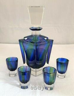 Art Deco Bohemian Czech Crystal Decanter 4 Cordials faceted cut rainbow color