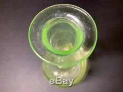 Art Deco French Uranium/Vaseline Glass Decanter with Crystal Cut Glass Stopper