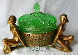 Art Nouveau Deco 3 Nudes Vaseline Cut Glass Gilt Dore Bronze Brass Covered Dish