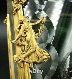 Art Nouveau French Baccarat Jewelry Box Casket Cut Crystal & Gilt Bronze Mounts