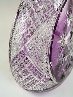 BACCARAT Crystal Stunning Amethyst Cut-to-Clear TSAR Decanter 17