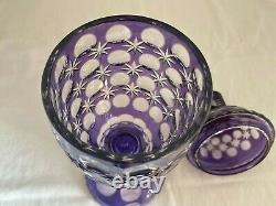 BOHEMIAN CUT GLASS CRYSTAL AMETHYST PURPLE URN JAR TROPHY Circle & Star pattern