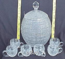 BOHEMIAN CZECH LACE BRILLIANT CUT CRYSTAL GLASS PUNCH BOWL with6 CUP BEAKER GOBLET