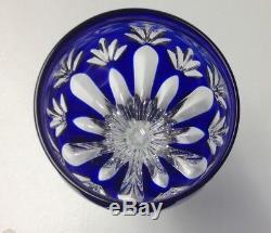 BOUTIQUE Vintage Czech Bohemian Cobalt Blue Cut Lead Crystal Goblet Set Of 6 SR