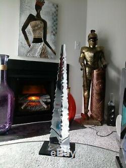 Baccarat Crystal Cut Optic Pyramid Trylon Obelisk Art Glass Sculpture, Isis, 18