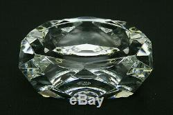 Baccarat Crystal Etch Signed Camel Pattern Diamond Cut Ashtray Mint Cond