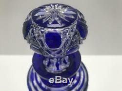 Baccarat Diamond Cut Cobalt Blue To Clear Perfum Bottle