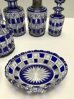 Baccarat Exceptional Perfume Set Blue Cut To Clear 10 Pieces #270