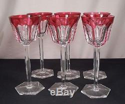 Baccarat Harcourt Cut Crystal Rhine Wine Glasses Rose Color Set of 6