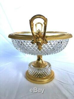 Baccarat Neoclassical French Cut Crystal & Ormolu Centerpiece Compote