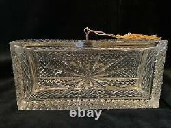 Baccarat Style French Cut Crystal Jewelry Casket Box Gilt Bronze handle