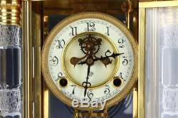 Beautiful Ansonia Utopia Model Cut Glass Crystal Regulator Clock