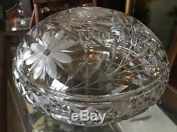 Beautiful Antique Cut Glass Mushroom Table Lamp Deep Cut Acorn Pulls. Crystal