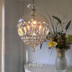 Beautiful Large Domed Bag Cut Glass & Crystal Vintage Chandelier Pendant Light