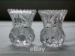 Beautiful Vintage Crystal 24% Lead Cut Glass Toothpick Holder Pair