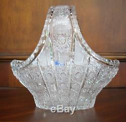 Bohemia Crystal Basket, Queen-lace Hand-cut, 8 Wide and 8 Tall