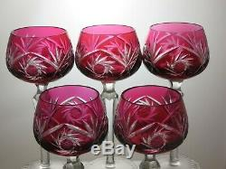 Bohemia Crystal Cut To Clear Cranberry/ Red Wine Hock Glasses Set Of 5 7 2/3