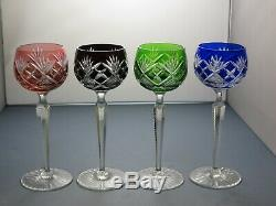 Bohemia Crystal Cut To Clear Wine Hock Glasses Set Of 4 7 7/8