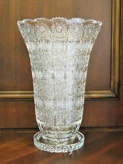 Bohemia Crystal Hand Cut 14'' Tall Vase, Queen-lace Cut, Czech Republic