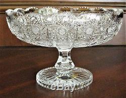 Bohemia Crystal Pedestal Bowl, 8 Wide, hand cut, Queenlace, From Czech Republic